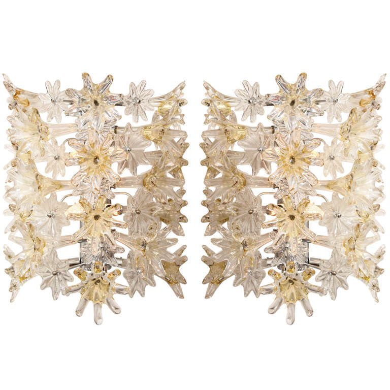 Italian A Pair of Mid-Century Modern Murano Glass Wall Lights  For Sale