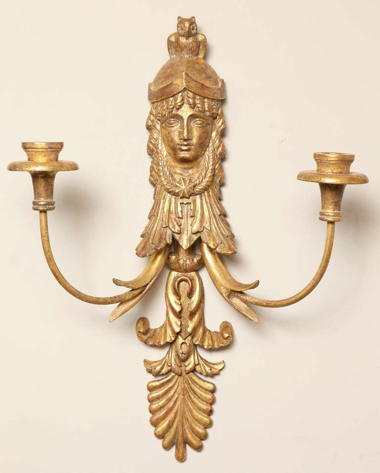 Pair of Empire Style Giltwood Two-Light Sconces by E.F Caldwell 3