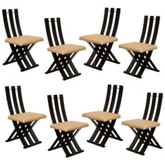 A Set of Eight Mid-Century Modern Scissor Chairs by Harvey Prober