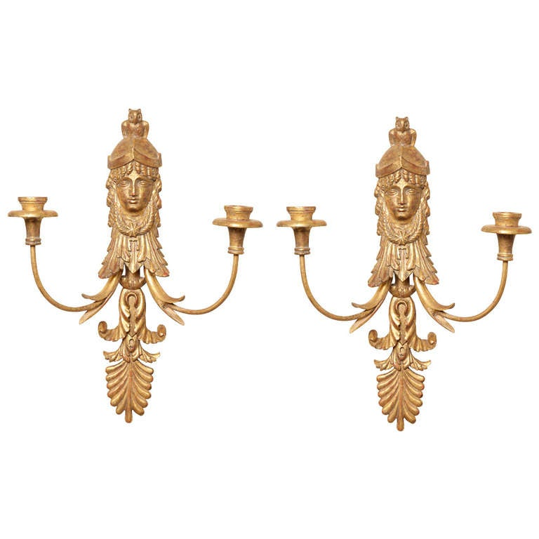 Pair of Empire Style Giltwood Two-Light Sconces by E.F Caldwell 1