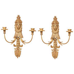 Pair of Empire Style Giltwood Two-Light Sconces Attributed to E.F Caldwell