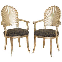 Pair of Carved Shell-Back Chairs