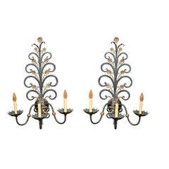 A Pair of Large Scale French Forged Iron 3 Light Wall Sconces