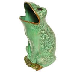 Italian Ceramic Frog Umbrella Stand