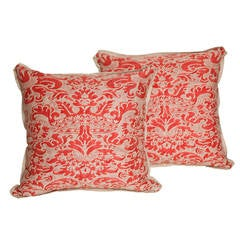 Pair of Vintage Fortuny Fabric Cushions in the Corone Pattern