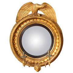 English Regency Round Convex Mirror