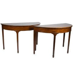 Pair of English Mahogany Demilune Consoles
