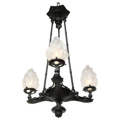 Three-Light Neo-Grec Bronze Chandelier