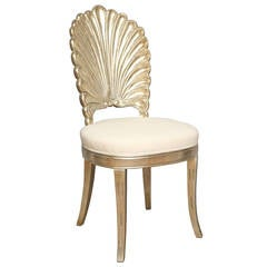 An Italian Shell Back Carved and Silver Leafed Chair