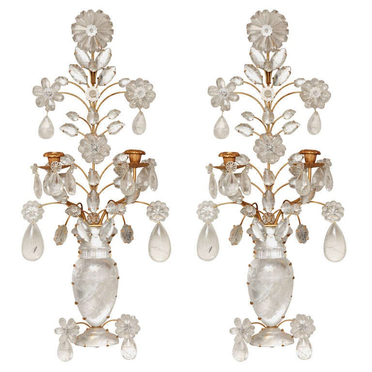 A Pair of new Rock Crystal two Light Wall Sconces at 1stdibs