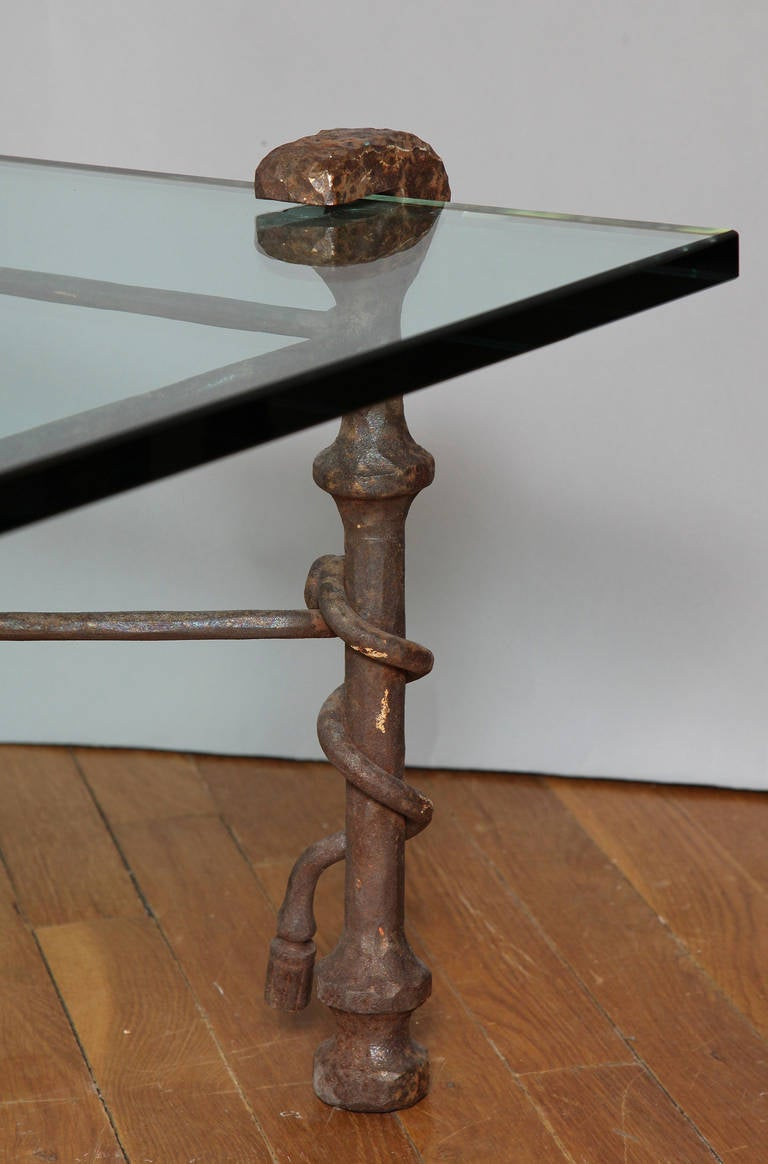 Late 20th Century Modern Patinated Forged Iron Coffee Table in the Manner of Giacometti For Sale