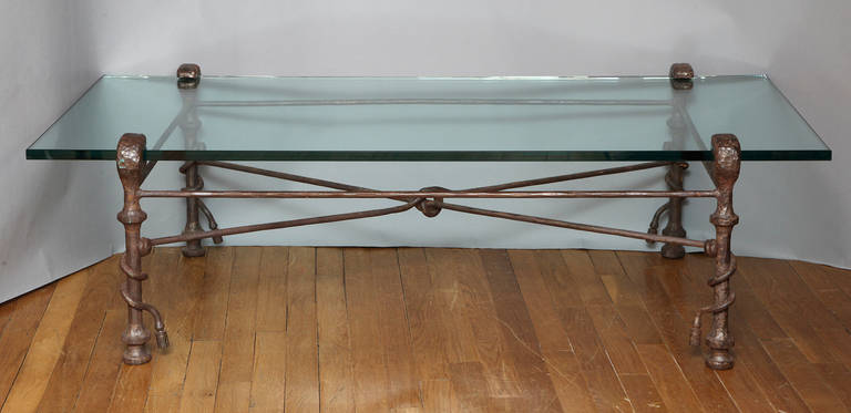 Glass Modern Patinated Forged Iron Coffee Table in the Manner of Giacometti For Sale