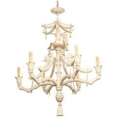 Six-Light Italian Carved Wood Chinese Inspired Chandelier