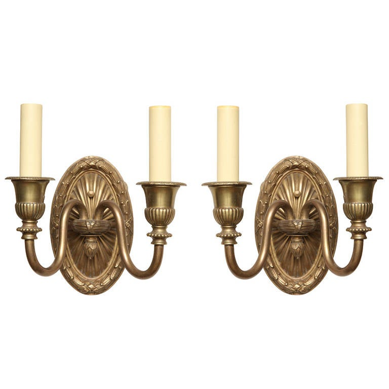 Pair of French Louis XVI Style, Two-Light Wall Sconces For Sale