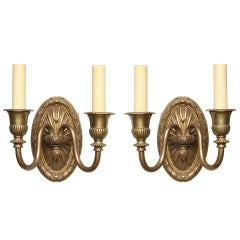 Pair of French Louis XVI Style, Two-Light Wall Sconces