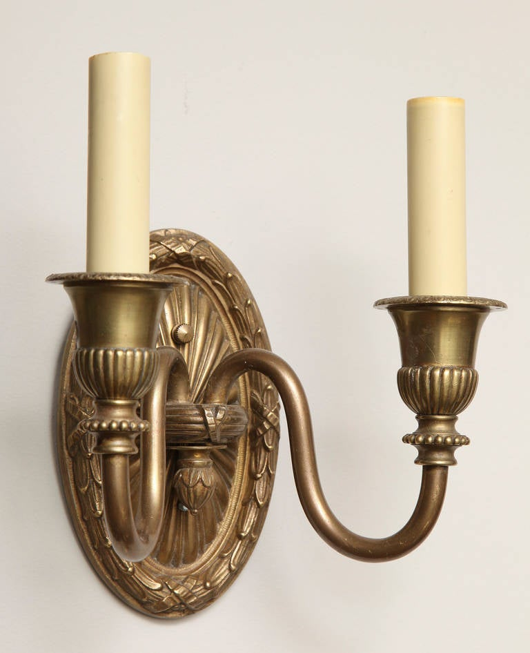 Pair of French Louis XVI Style, Two-Light Wall Sconces For Sale 1
