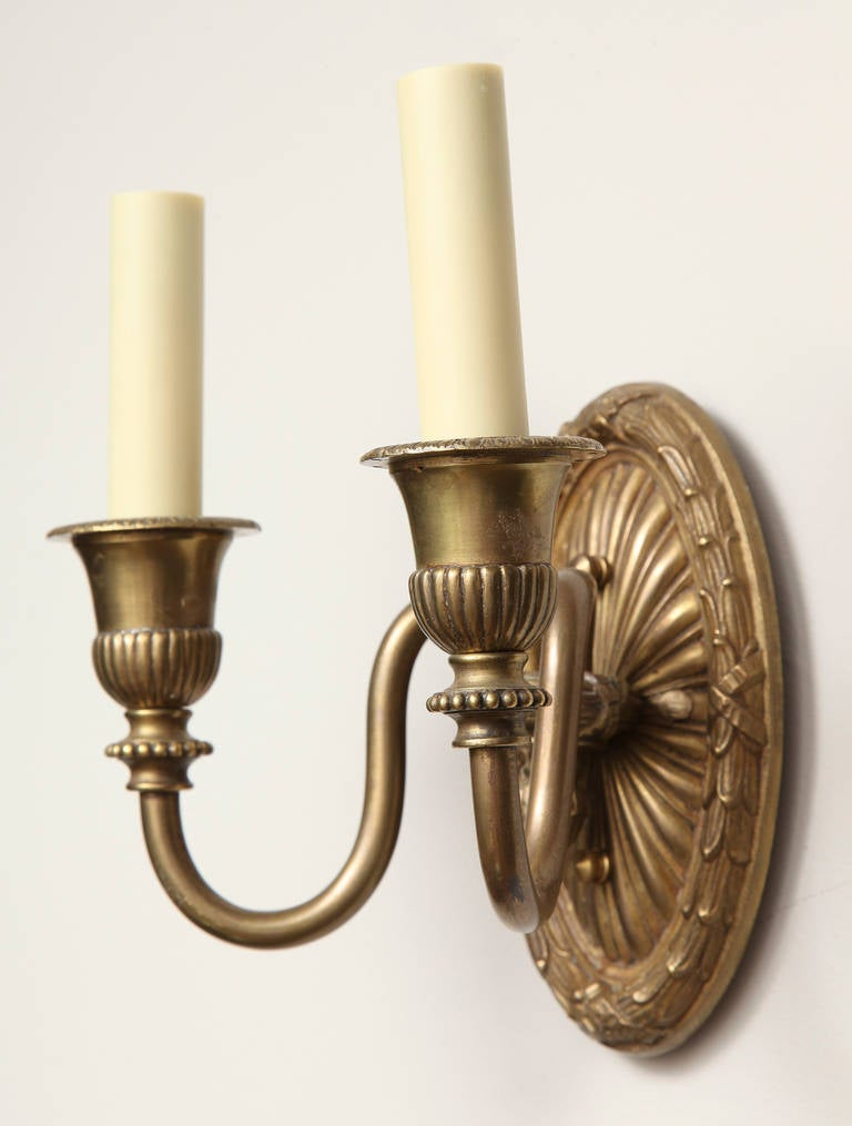 Pair of French Louis XVI Style, Two-Light Wall Sconces For Sale 4