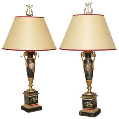 Pair of Hand-Painted Tole Lamps