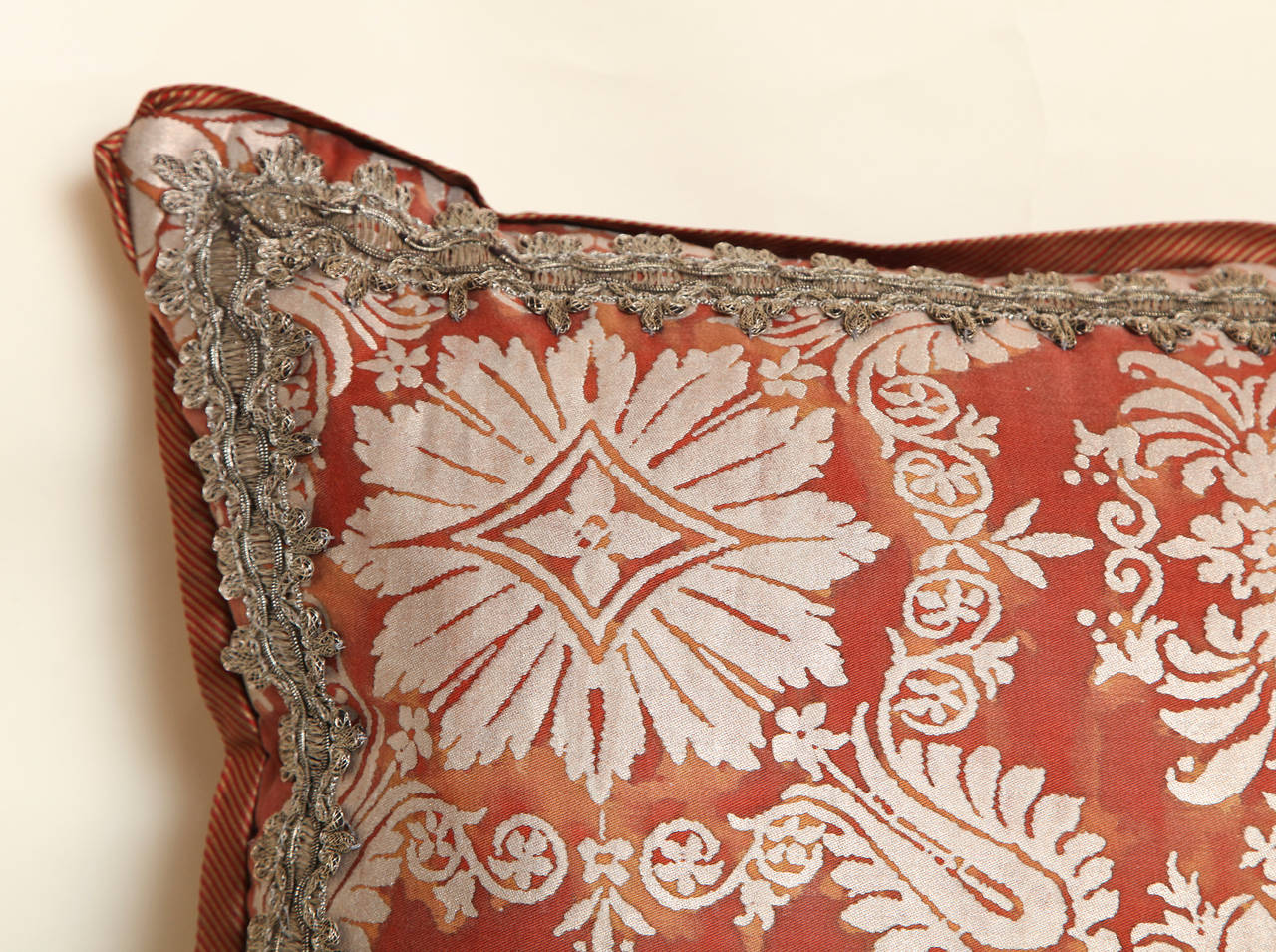 American Fortuny Fabric Cushion in the Impero Pattern For Sale