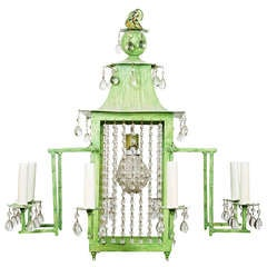 A New Eight Light Chinoiserie Design Tole Chandelier