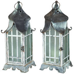Pair of Square Verdigris Patinated Copper Lanterns