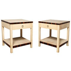 Pair of Jean-Michel Frank Style Parchment Veneered Side Tables