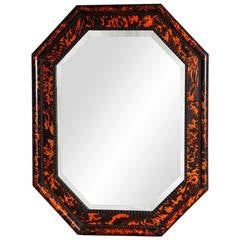 Octagonal Tortoiseshell Veneered Mirror