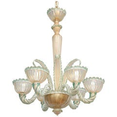 Six-Light, Venetian Murano Glass Chandelier