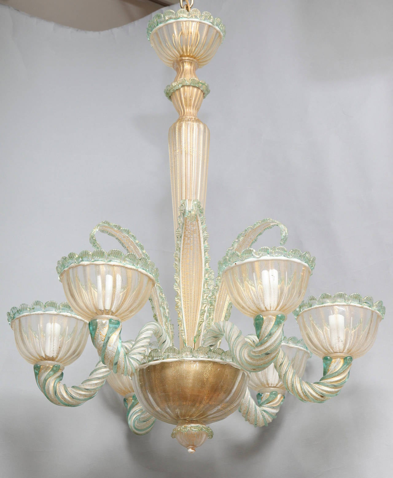 Murano Venetian Crystal Chandelier: Six-Light, Venetian Murano Glass Chandelier At 1stdibs