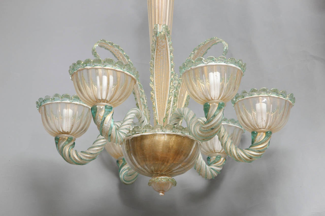 six light venetian murano glass chandelier at 1stdibs. Black Bedroom Furniture Sets. Home Design Ideas