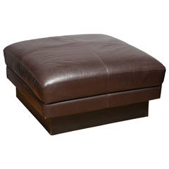 Willy Rizzo Square Leather Upholstered Ottoman