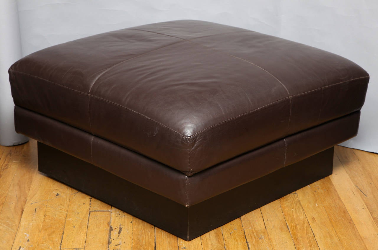 Willy Rizzo Square Leather Upholstered Ottoman At 1stdibs