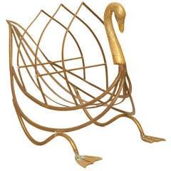 A Brass Swan Shaped Magazine Rack