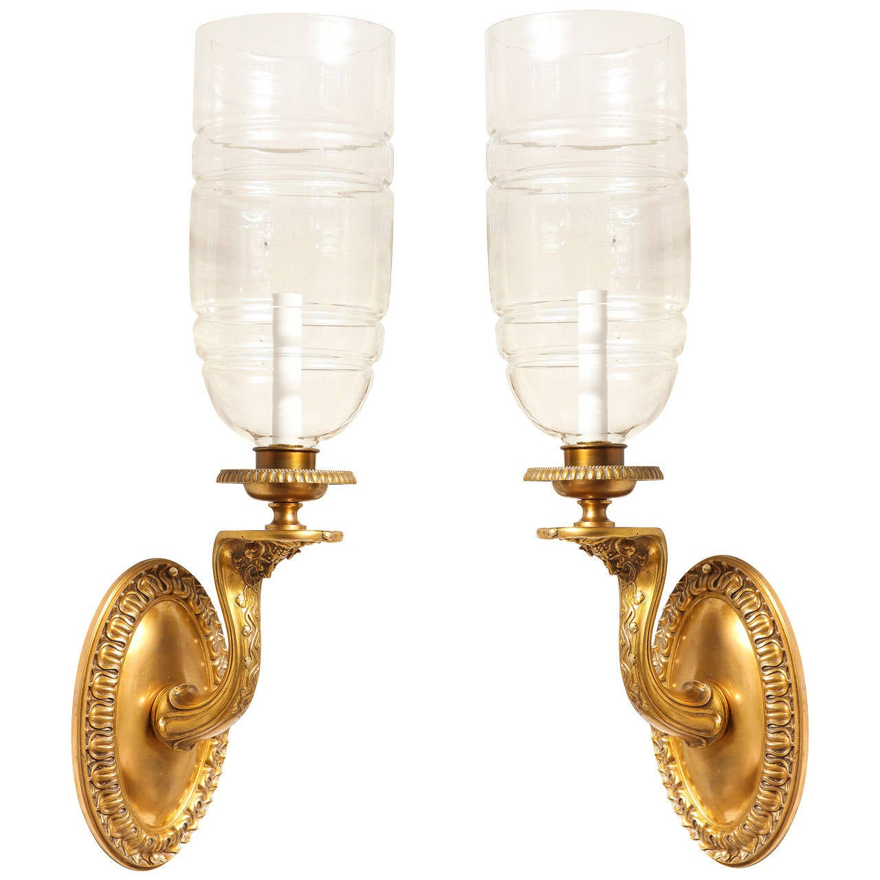 A Pair of Signed Neo-Grec Hurricane Wall Sconces by E.F Caldwell  1