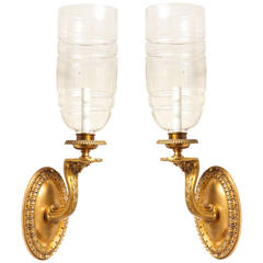 A Pair of Signed Neo-Grec Hurricane Wall Sconces by E.F Caldwell