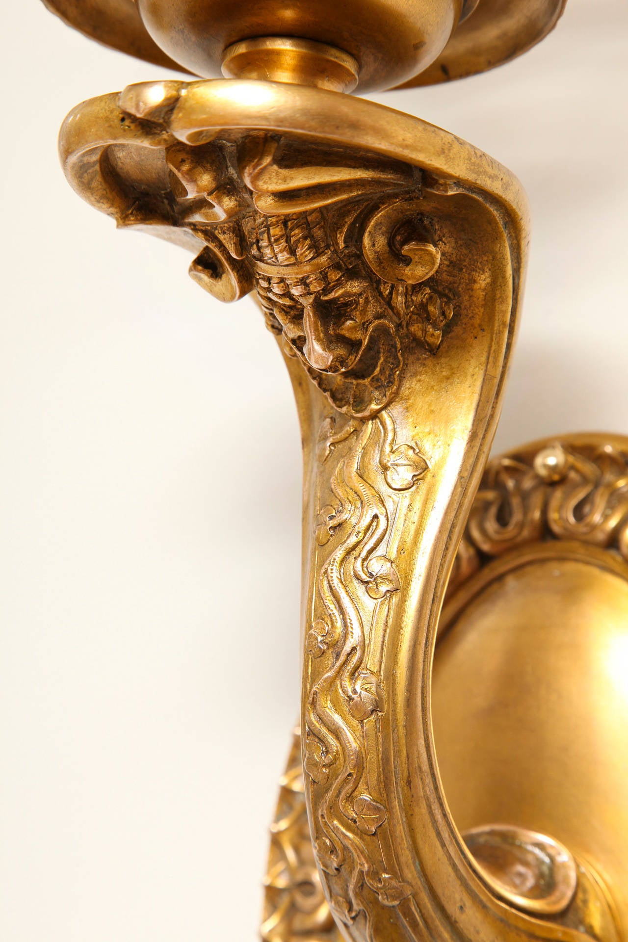 A Pair of Signed Neo-Grec Hurricane Wall Sconces by E.F Caldwell  5