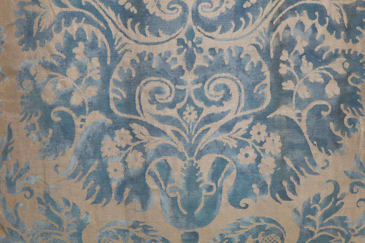 Baroque A Fortuny Fabric Cushion in the DeMedici Pattern For Sale