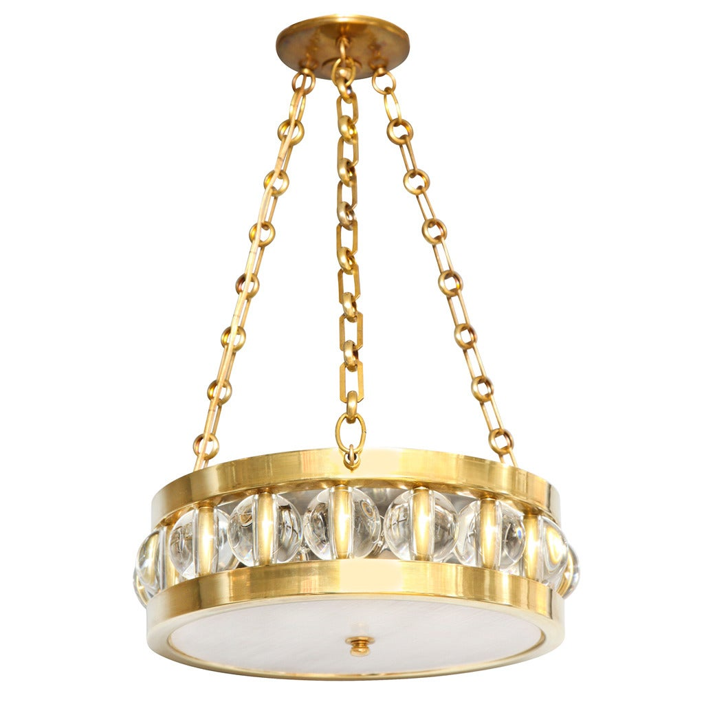 "A 14"" Tambour Pendant Fixture with Chain by David Duncan"