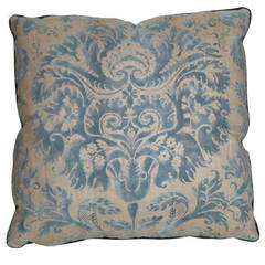 Single Vintage Fortuny Fabric Cushion in the Demedici Pattern