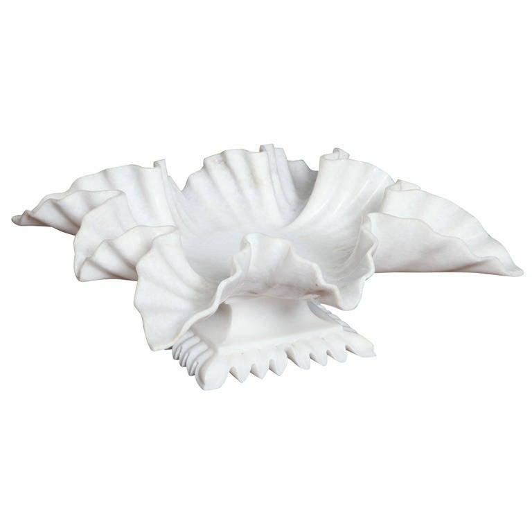 White Marble Carved Leaf Bowl 1