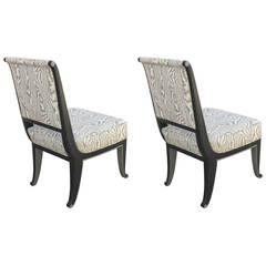 Pair of Petite Chairs in the Manner of Émile-Jacques Ruhlmann