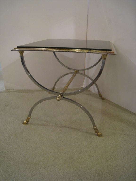 Pair of Steel and Brass Tables 3