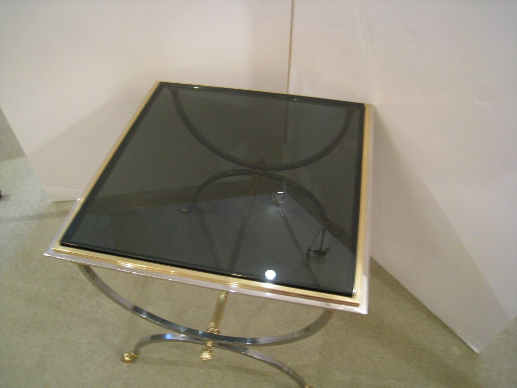 Pair of Steel and Brass Tables 4
