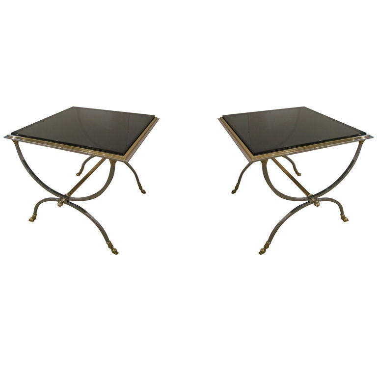 Pair of Steel and Brass Tables