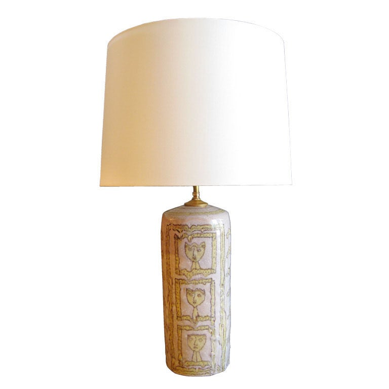 Guido Gambone Ceramic Lamp