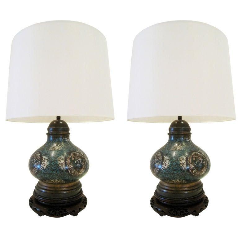 Pair of Cloisonne Lamps