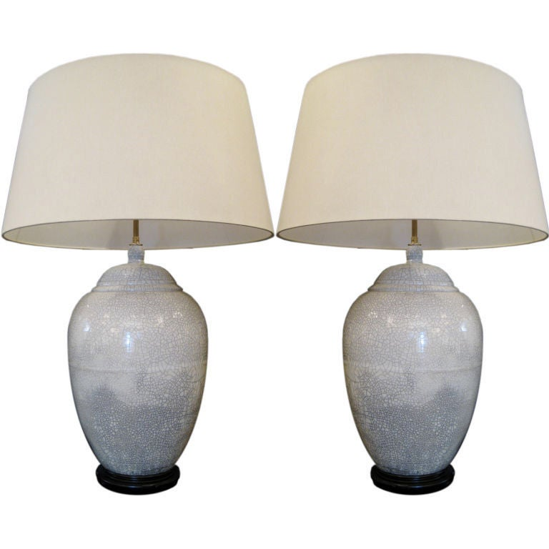 pair of large signed white ceramic crackle glaze lamps at. Black Bedroom Furniture Sets. Home Design Ideas