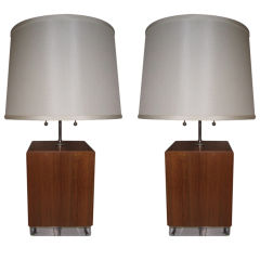 Pair of Walnut and Lucite Box Table Lamps