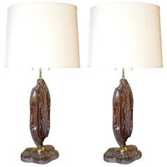 Pair of Ceruse Carved Lamps