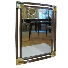 Smoked Lucite  and Brass Mirror